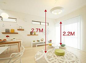 解放感ある2.7m天井高&2.2mハイサッシ