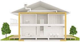 家まるごと断熱材を用いて、建物を包み込み、快適な室内空間に