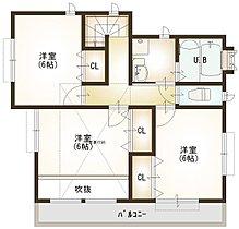 ■8号棟の2階の間取です。全居室収納付きです。小屋裏収納も。