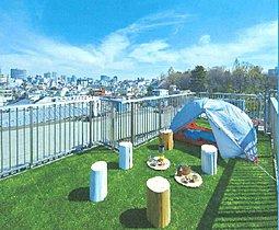 自宅でキャンプも楽しめる屋上利用です