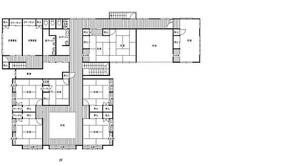 旅館-安曇野市穂高有明 本館2階の間取り図です