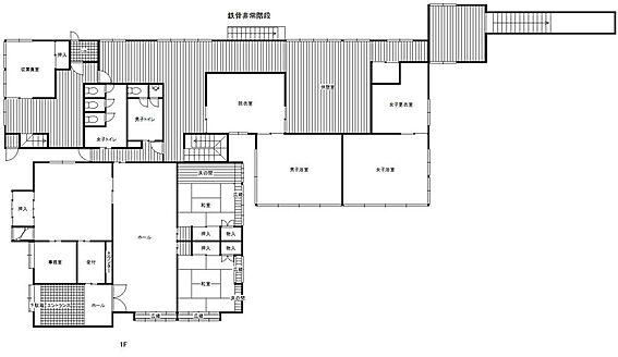 旅館-安曇野市穂高有明 本館1階の間取り図です