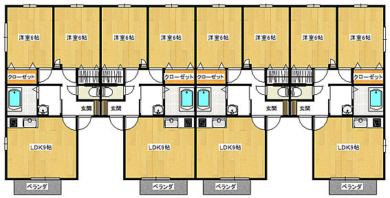 アパート-防府市岩畠2丁目 1Fと2Fは同じ間取りです。8世帯あります。