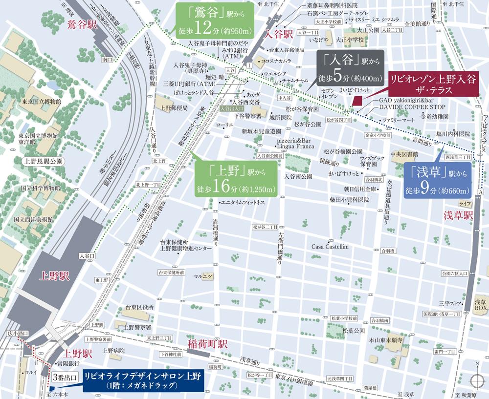 リビオレゾン上野入谷ザ・テラス:案内図