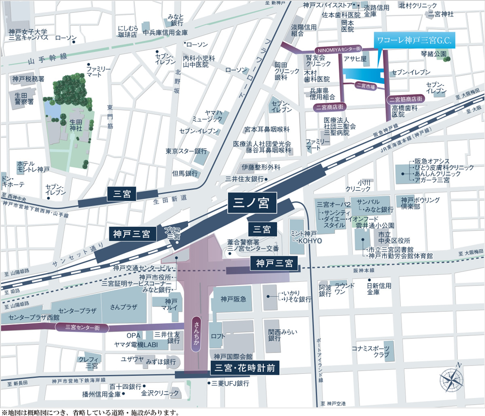 ワコーレ神戸三宮G.C.:案内図