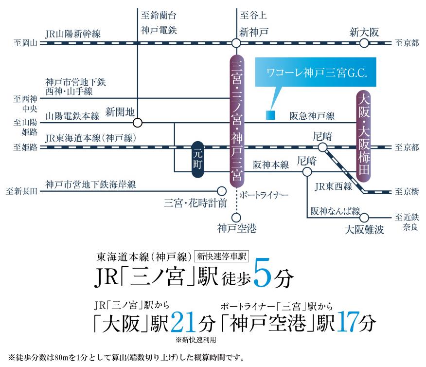ワコーレ神戸三宮G.C.:交通図