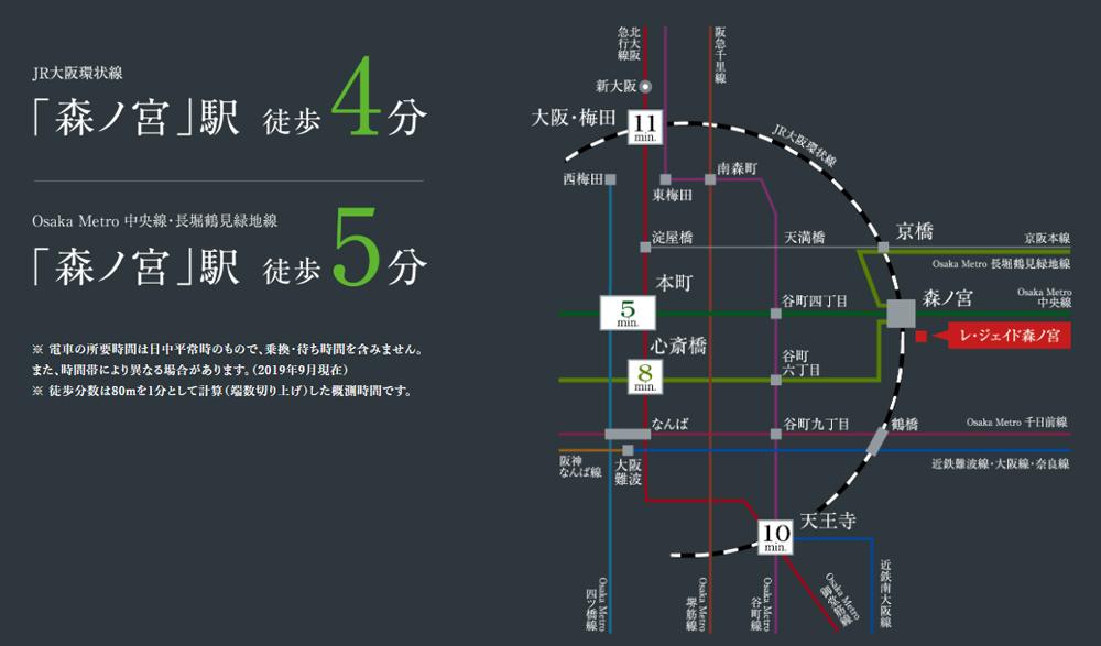 レ・ジェイド森ノ宮:交通図