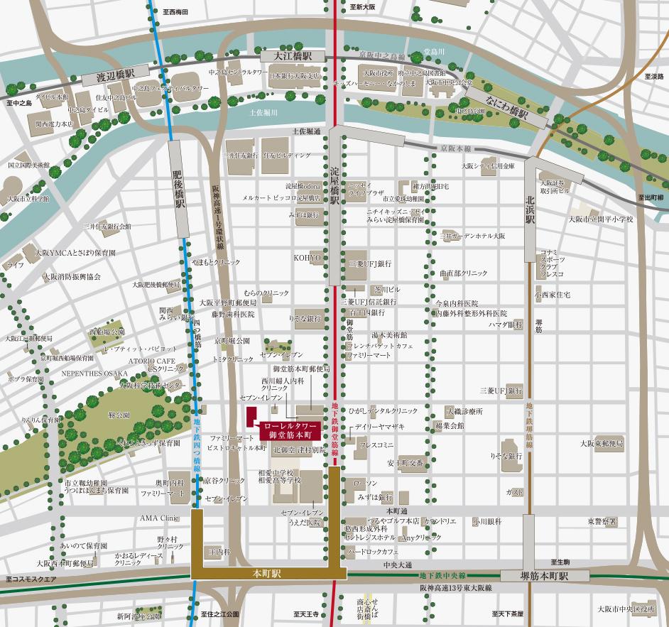 ローレルタワー御堂筋本町:案内図