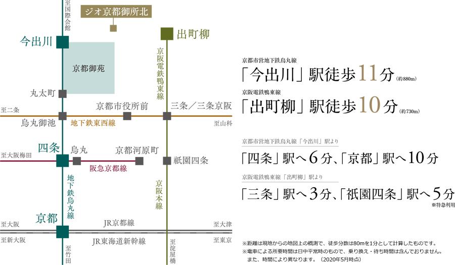 ジオ京都御所北:交通図