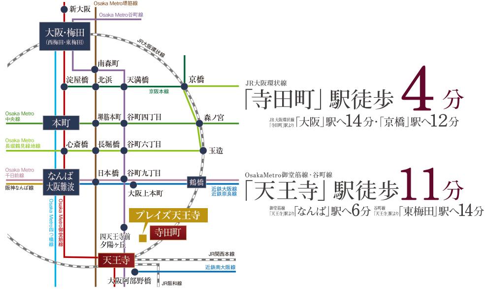 プレイズ天王寺:交通図