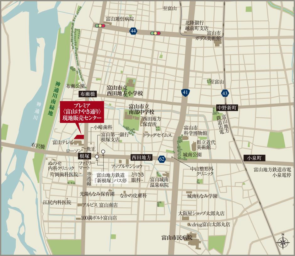 プレミア〈富山けやき通り〉:案内図