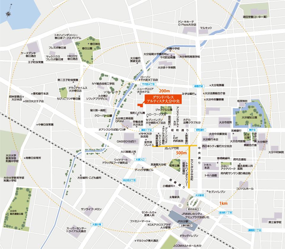 グランドパレスアルティスタ大分中央:案内図