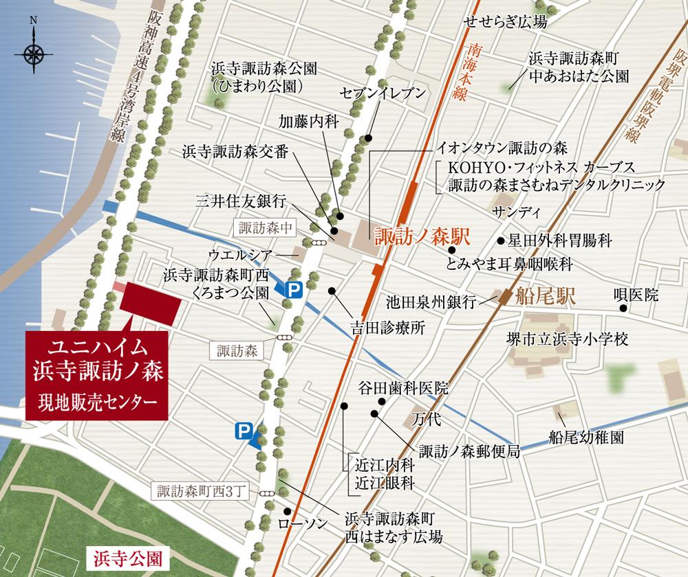 ユニハイム浜寺諏訪ノ森:モデルルーム地図