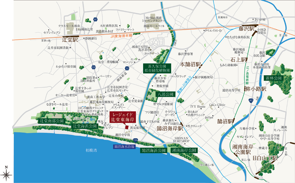 レ・ジェイド 辻堂東海岸 SEA-SIDE VILLA:案内図