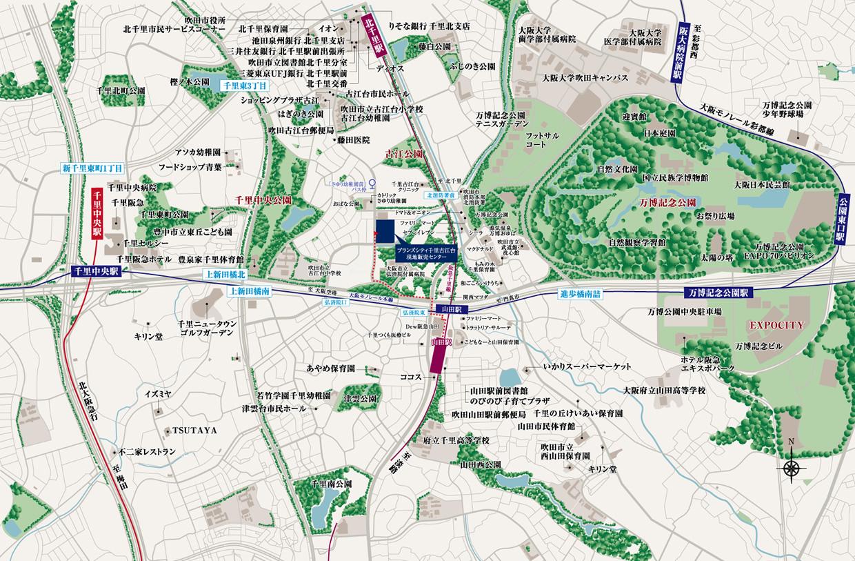 ブランズシティ千里古江台:案内図