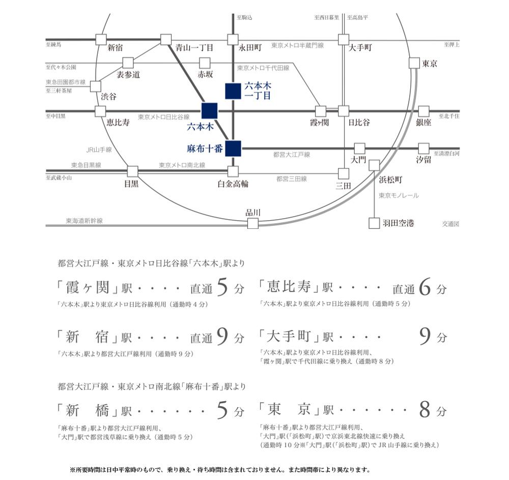 ブランズ 六本木 飯倉片町:交通図