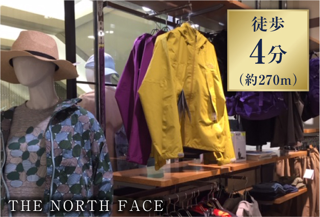 THE NORTH FACE 約270m(徒歩4分)