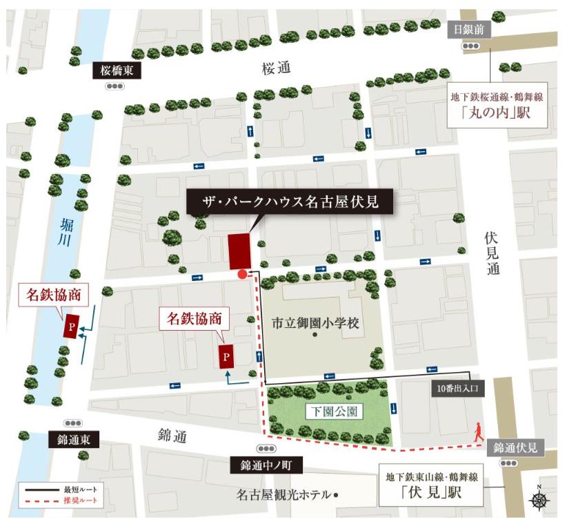 ザ・パークハウス 名古屋伏見:モデルルーム地図