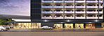 1階通り面完成予想CG 1階部分には商業テナントが4店舗入居予定。