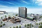再開発事業エリア完成予想CG 本塩釜駅前エリアに誕生する、塩竈の新しいランドマーク。商公住一体開発により、新しい賑わいを創出。