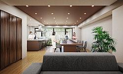 共用部には、住まう人の豊かな交流を育む、多目的なスペースをご用意。キッチンを中心とした空間にはテーブルやチェアを配し、カフェのようにゆったりと憩い、くつろげる空間に。