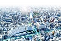 外観(空撮 ※掲載の空撮は、現地周辺を撮影(2019年2月)したものにCG処理を施して描いたもので実際とは異なります。また現地の光柱は建物の規模、高さを表したものではありません。予めご了承ください。)