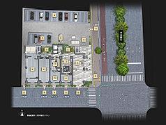 【1】エントランスホール・ラウンジコーナー【2】オーナーズラウンジ【3】中庭【4】駐車場【5】バイク置場【6】駐輪場【7】メール室【8】歩車分離設計