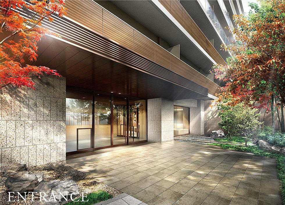 エントランス完成予想CG(大きな空が広がるこの地の豊かさに応える、重厚な邸宅感を意識したデザイン。)