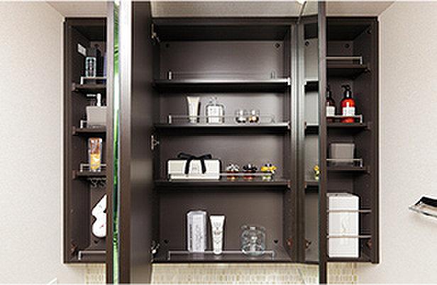 三面鏡収納(洗面化粧台の三面鏡裏には、洗面用具やティッシュボックスなどがすっきりと収まる収納スペースを設けています。)