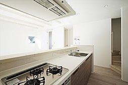 使い勝手と清掃性にもこだわったオリジナルシステムキッチン。ビルトイン食器洗い乾燥機を標準装備。(施工例写真)