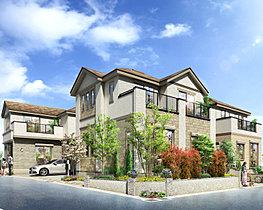 開放感豊かな南西角地街区/全邸2階建てプラン。