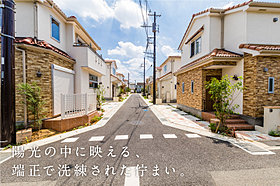 街の中央にはプライベートな開発道路。