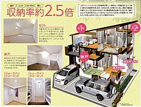 納戸とロフトのある家は一般の家と比べ収納力が2.5倍