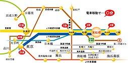 敷地37坪 JR総武線 東船橋駅南口 イーストレジェンド東船橋XIV:交通図
