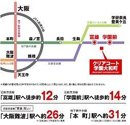 クリアコート学園大和町:交通図