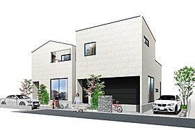 白×黒壁を巧みにプラン。個性的なフォルムの2邸の分譲地。