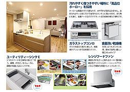 家族を見守りながら料理ができる対面式キッチンは食洗器完備♪