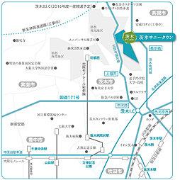茨木サニータウン宅地分譲(建築条件なし)宅地69坪以上。1,860万円(229.05m2)~:案内図