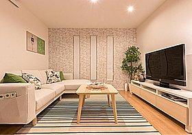 落ち着いた色の大きな建具が部屋全体を引き締めます。