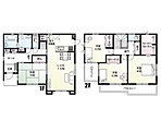 【館林市新宿1丁目 間取り図】 各居室の収納、1階2階の共用物入れや大きなクローゼットなど収納が充実した間取りです!