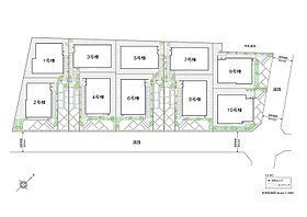 南東向き中心のゆとりある配棟計画。