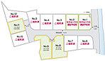 No.8・9・11区画は建築条件なし、No.1・2区画はモデルハウス建設予定地。