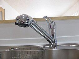 蛇口の先端に浄水器を内蔵。場所を取らない画期的な浄水器です。また、浄水器ごとホースを引き出せます。