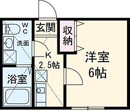 フローライト日吉 2階ワンルームの間取り