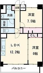 ル・ソレイユ 10階2SLDKの間取り