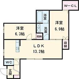 名鉄犬山線 柏森駅 徒歩9分の賃貸アパート 1階2LDKの間取り