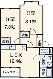名鉄瀬戸線 水野駅 徒歩12分の賃貸アパート 2階2LDKの間取り