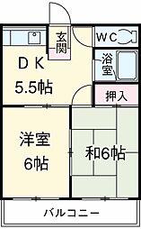 サンベルマンション 3階2DKの間取り