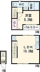 メルディア新小岩 2階1LDKの間取り