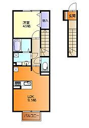 名鉄羽島線 新羽島駅 徒歩10分の賃貸アパート 2階1LDKの間取り
